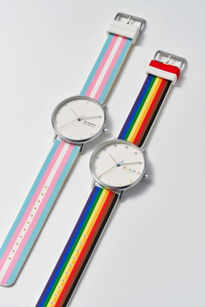 Skegg rainbow and trans flag watches