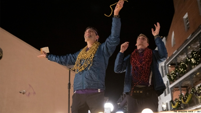 Will and James in New Orleans getting beads