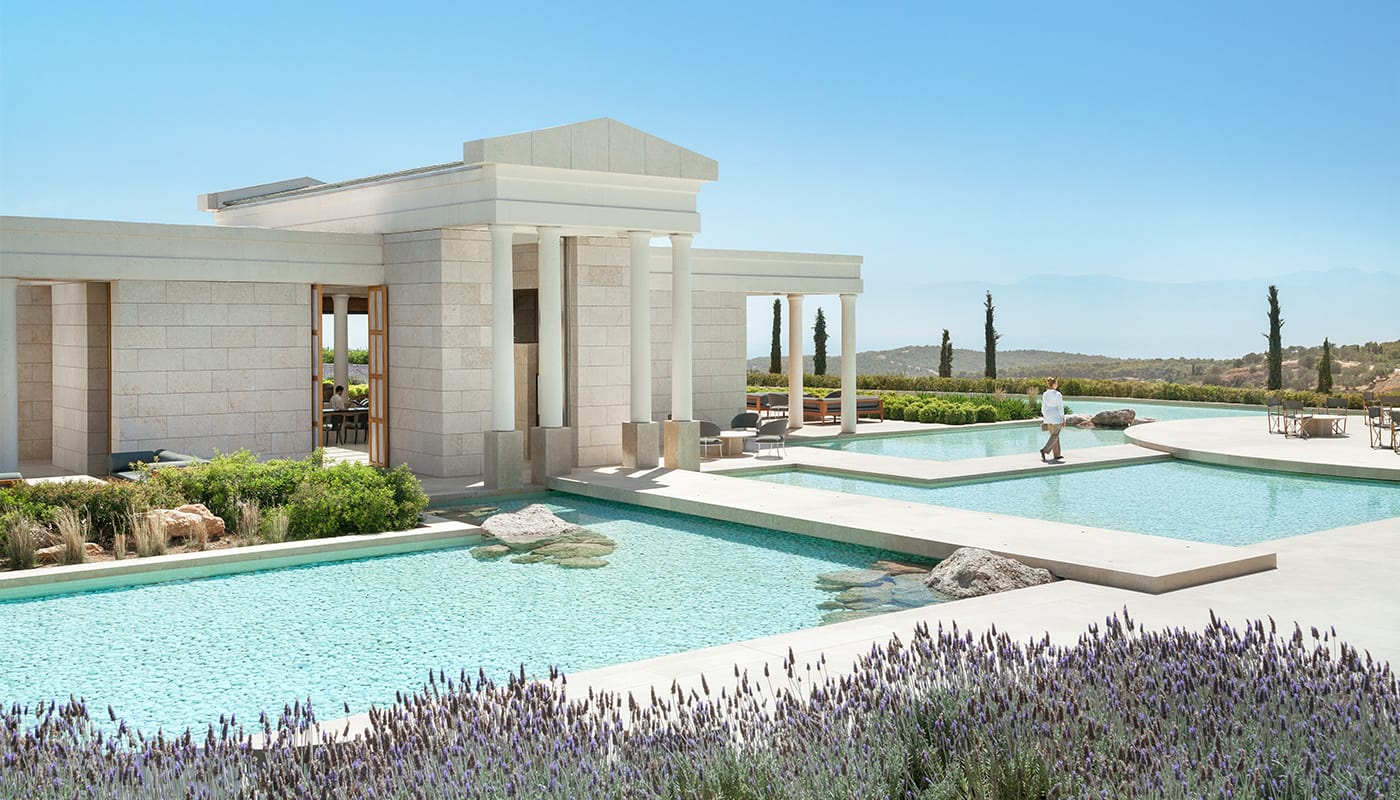 Amanzoe Resort Greece Central Terrace And Bar